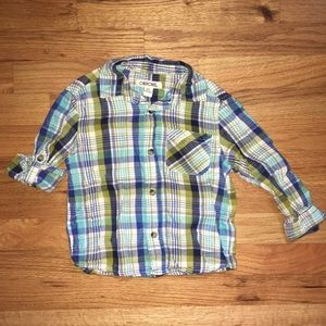 Long sleeved button down plaid, size 3T